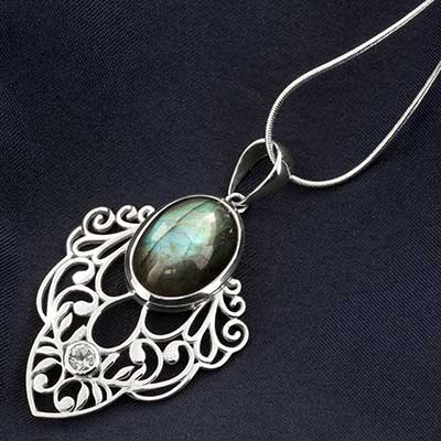 Silver and Labradorite Flora Necklace