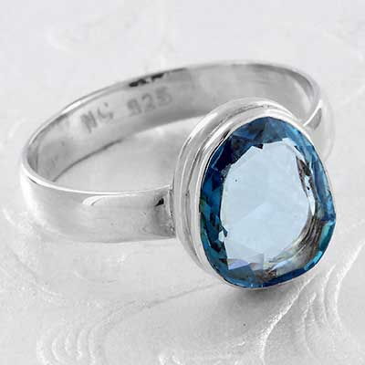 Silver and Faceted Aquamarine Ring