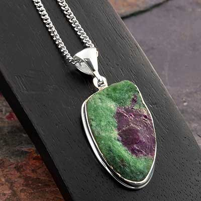 Rough Ruby in Zoisite and Silver Necklace