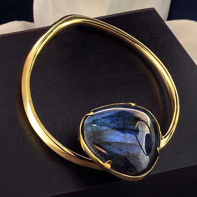 Solid Brass Coils with Labradorite
