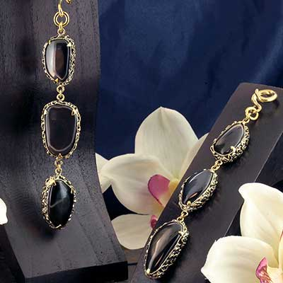 Solid Brass and Feral Rainbow Obsidian  Weights