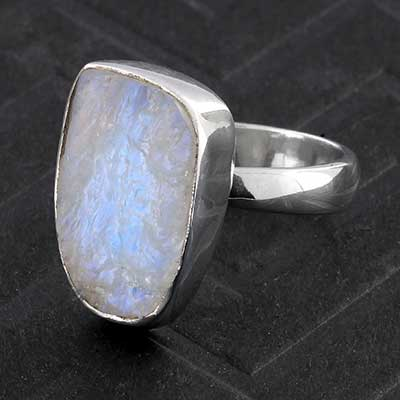 Silver and Rough Rainbow Moonstone Ring