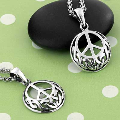 Silver Celtic Peace Necklace