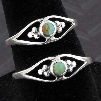 Silver and Turquoise Blossom Ring