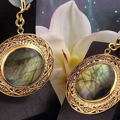Solid Brass and Labradorite Medallion Weights