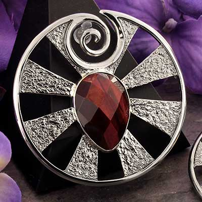 White Brass Eye of Shiva Design with Red Tiger Eye