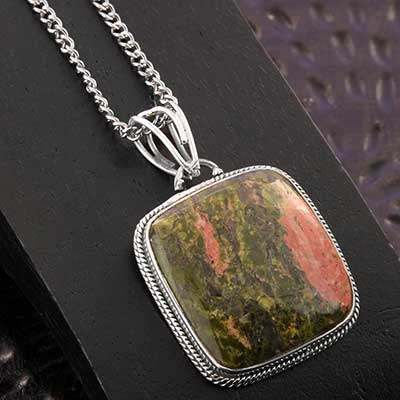 Unakite and Silver Necklace