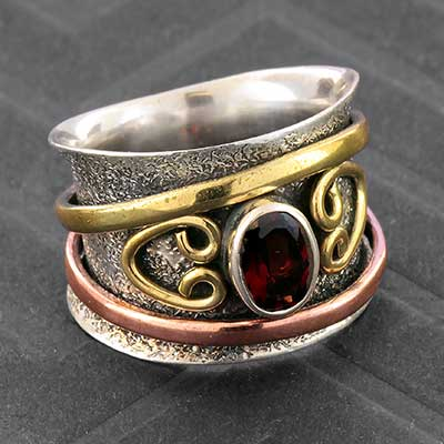 Silver and Garnet Meditation Ring