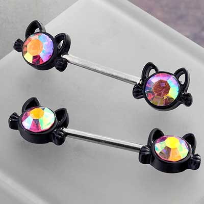 Black Cat Nipple Barbell