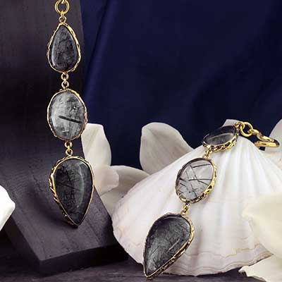 Solid Brass and Feral Tourmalated Quartz  Weights