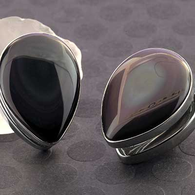 White Brass Spade Weights with Rainbow Obsidian