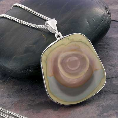 Jasper Slice and Silver Necklace