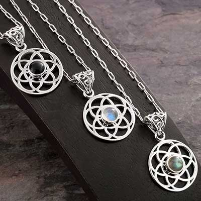 Silver Sacred Flower of Life Necklace