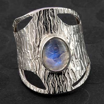 Textured Silver and Moonstone Ring