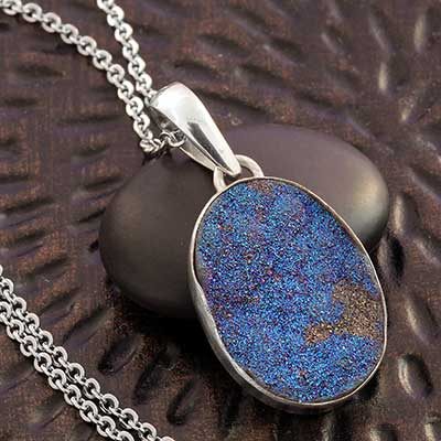 Silver and Titanium Plated Druzy Pendant Necklace