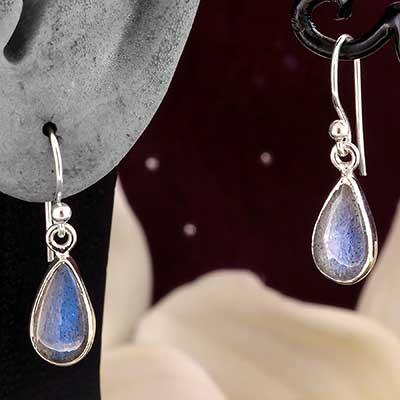 Silver and Labradorite Teardrop Earrings
