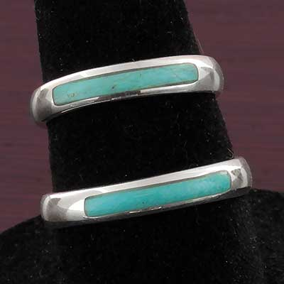 Silver and Turquoise Band Ring