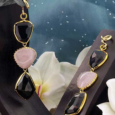 Solid Brass and Rose Quartz  with Obsidian Weights