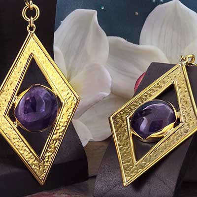 Solid Brass and Amethyst Thread the Kneedle Weights