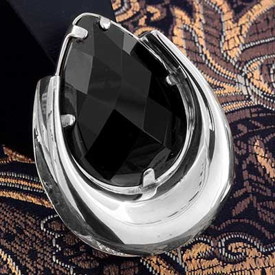 Sterling Silver Saddles with Black Onyx