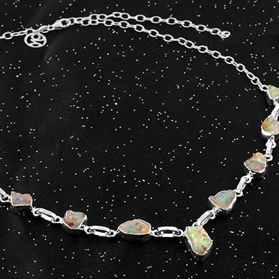 Ethiopian Opal and Silver Necklace