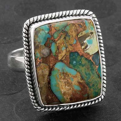 Silver and Turquoise Boulder Ring