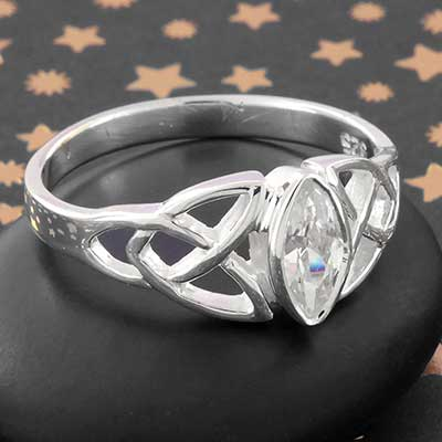Silver and Celtic CZ Ring