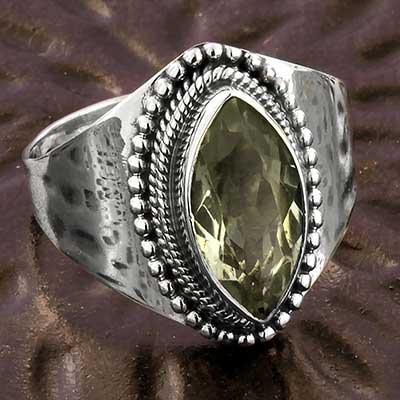 Silver and Green Amethyst Gemstone Ring