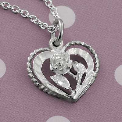 Silver Crimped Heart and Rose Necklace