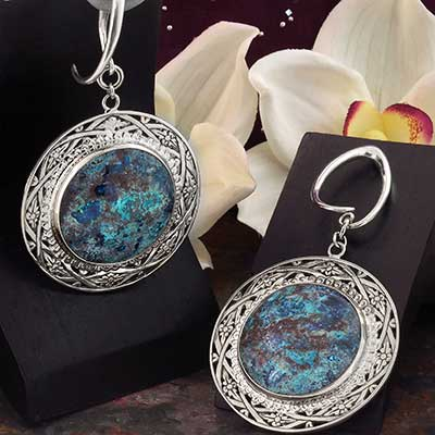 Sterling Silver and Chrysocolla Medallion Weights