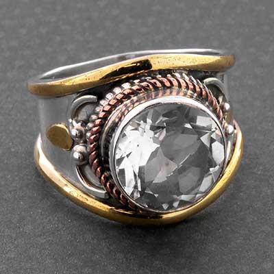 Silver and Embellished Quartz Gemstone Ring
