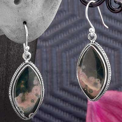 Silver and Ocean Jasper Earrings