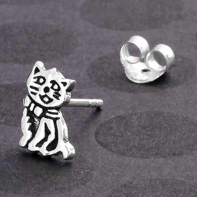 Silver Kitty Cat Stud Earrings