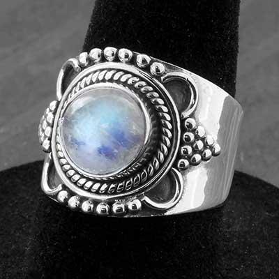 Silver and Rainbow Moonstone Sunbeam Ring