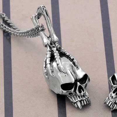 Silver Captured Skull Necklace