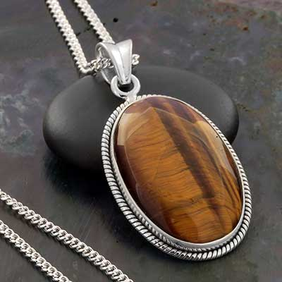 Yellow Tiger Eye and Silver Necklace