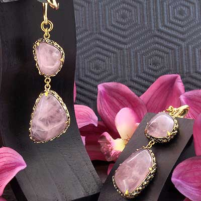Solid Brass and Feral Rose Quartz Weights