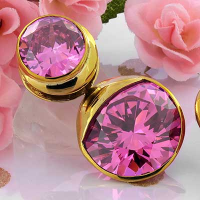 Solid Brass Fused Saddle Weights with Pink CZ