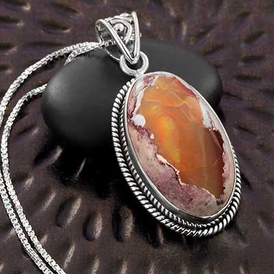 Mexican Fire Opal and Silver Necklace
