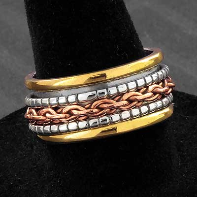 Silver Chain Link Meditation Ring