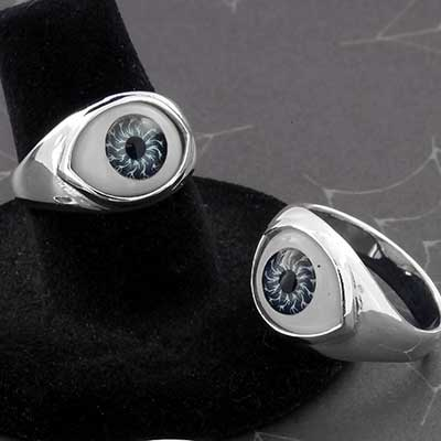 Silver and Glass Eyeball Ring
