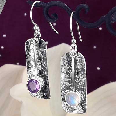 Silver Floral Pendulum Earrings