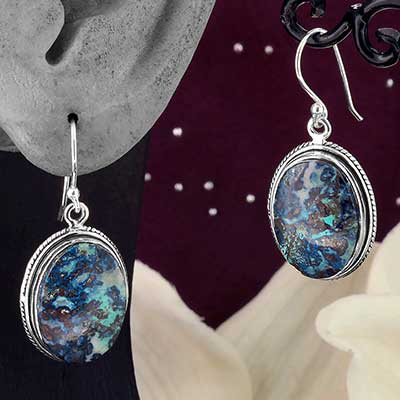 Silver and Chrysocola Earrings