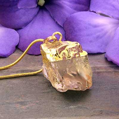 Gold Plated Quartz Necklace