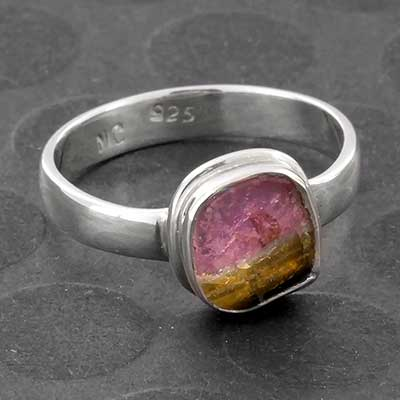 Silver and Watermelon Tourmaline Ring