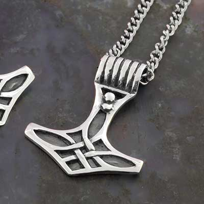 Silver Hammer of Thor Necklace