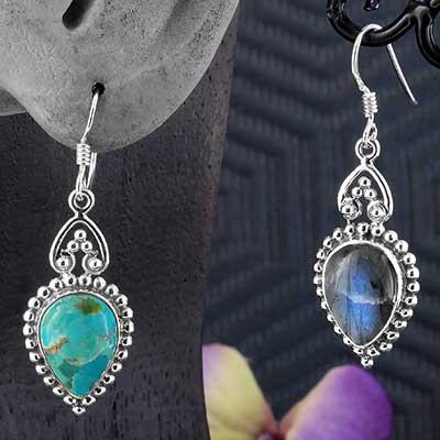 Silver and Stone Adorned Teardrop Earrings