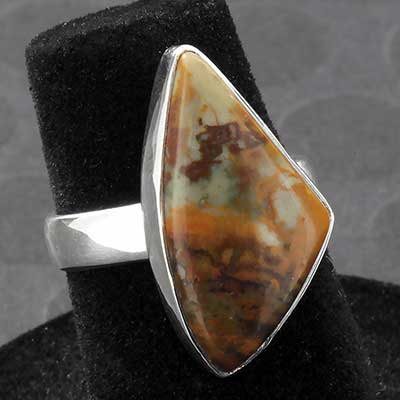 Silver and American Picasso Jasper Ring