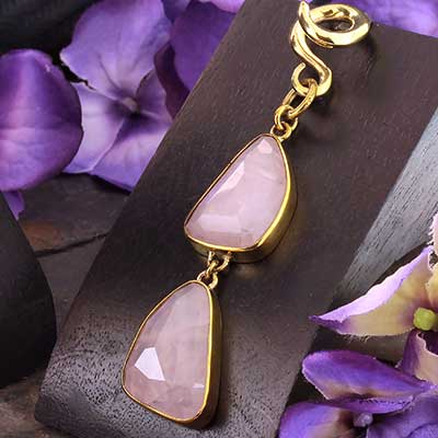 Solid Brass and Faceted Rose Quartz Weights