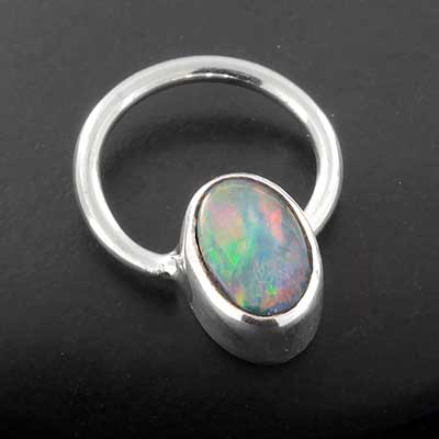 Sterling Silver and Boulder Opal Seamless Ring